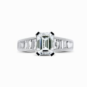 Emerald Cut Engagement Ring With Baguette Cut Shoulders 1.01ct ESI1 GIA